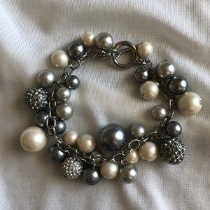 CAROLEE Silver Pearl Charm Bracelet